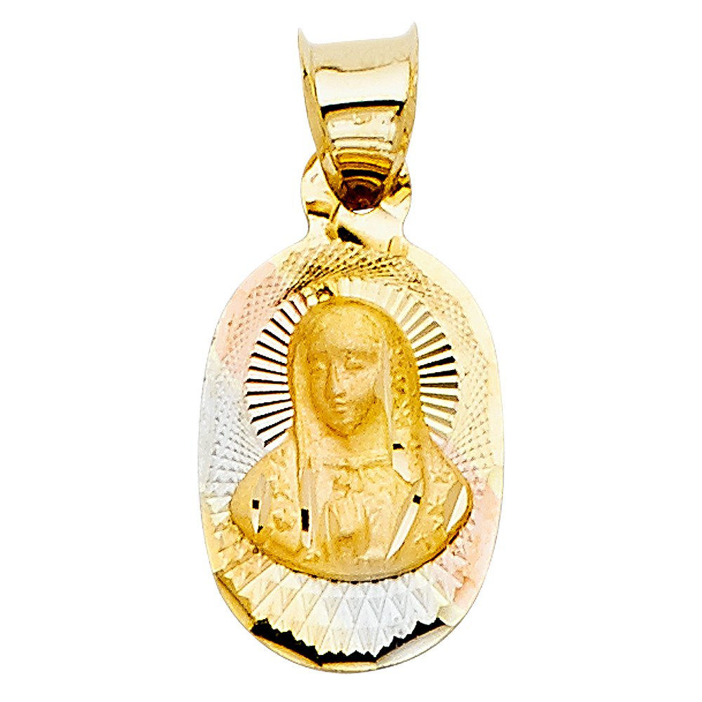with 18 Rolo Chain Million Charms 14K Tri-Color Gold Small//Mini Guadalupe Stamp Charm Pendant 13mm x 10mm