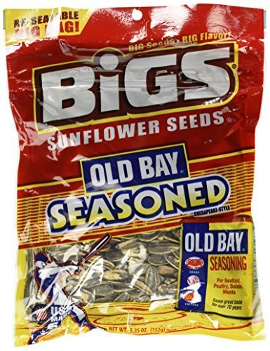 BiGS Old Bay Seasoned Sunflower Seeds 5.35oz Bag (Pack of 96) by BIGS