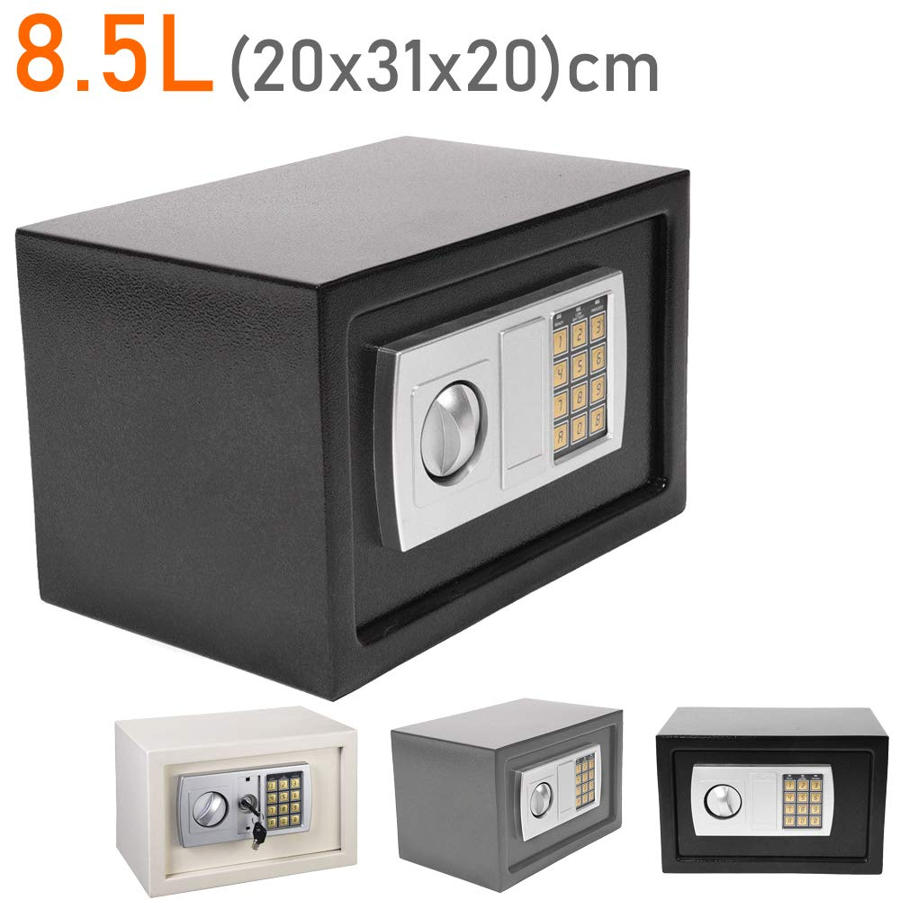 20x31x20cm Grey 8.5L Cash Safe Box Solid Steel Digital Secret Code and Override Key Cash Jewelry safety Box for Home Office Hotel