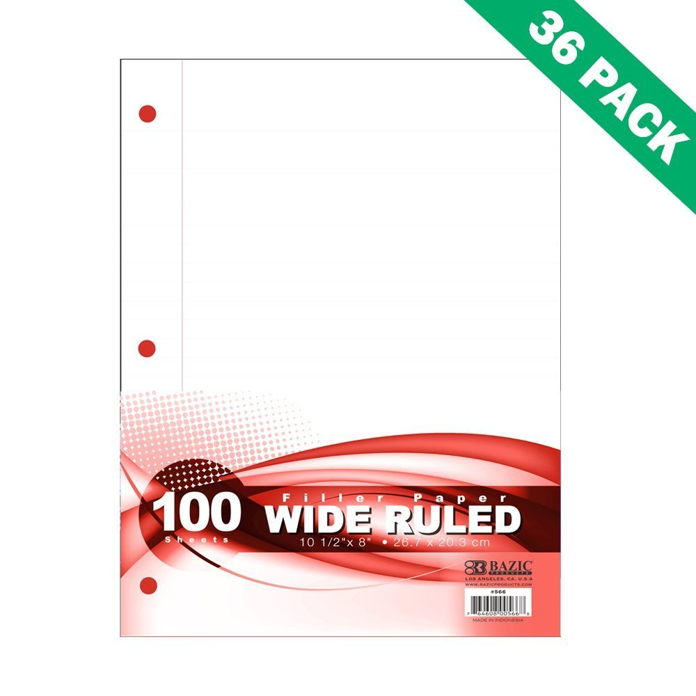 Wide Rule Filler Paper 8x10.5, 100ct Wide-ruled School Paper Filler - 36 Units