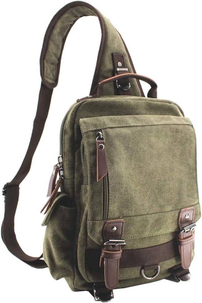 Jiao Miao Canvas Shoulder Backpack Travel Rucksack Sling Bag Cross Body