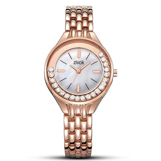 FUBULE Reloj de Pulsera de Cuarzo para Mujer con Pulsera de Diamantes de Lujo, Vestido Simple Casual Relojes para Mujer (Color : Rose Gold): Amazon.es: ...