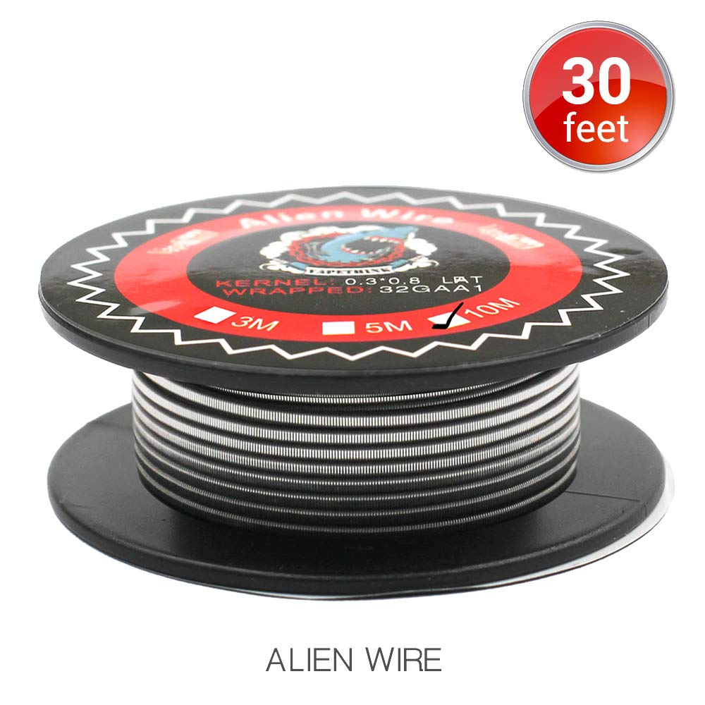 30 Feet Alien Clapton Coils, Vapethink Heating Wire, AWG(0.3x0.8mm Flat + 32GA), 0.45 ohm,Round