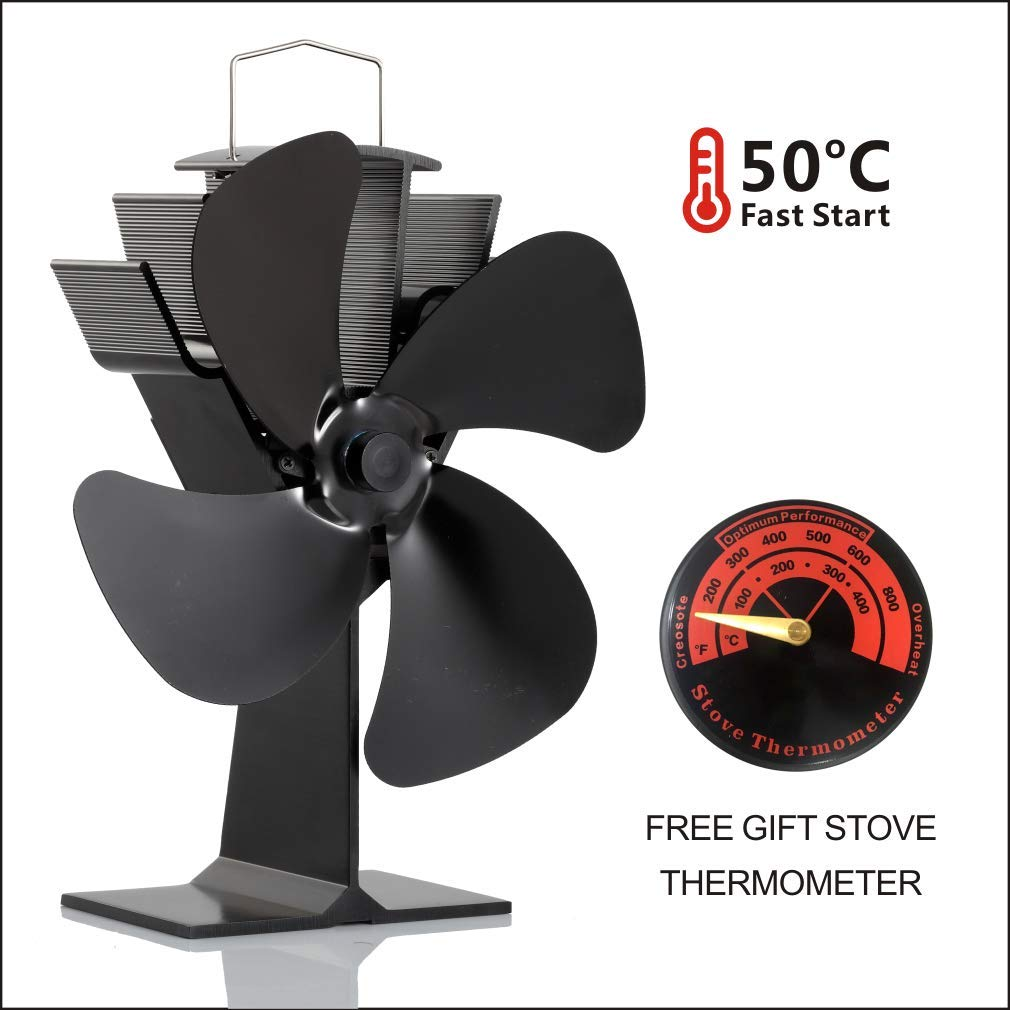 Wood Stove Fan and Free Stove Thermometer,Blows Heat Up to 300 f/m- No Electronic Required -+ 50°c Start Silent 4-Blade Heat Powered Stove Fan for Log Burner (Black) CRSURE