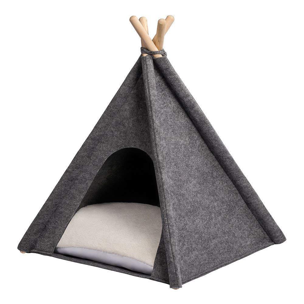 Tipi-Tente gris pour chat avec coussin