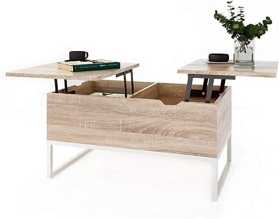 Table Basse Relevable Avec 2 Compartiments Table D Appoint