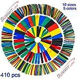 SummitLink 410 Pcs Assorted Heat Shrink Tubing Wrap Sleeve Set Combo Tube 5 Colors 10 Sizes