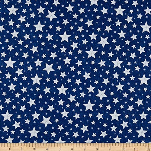 Wilmington Prints Berry Sweet Allover Stars Fabric, Blue, Fabric By The Yard -