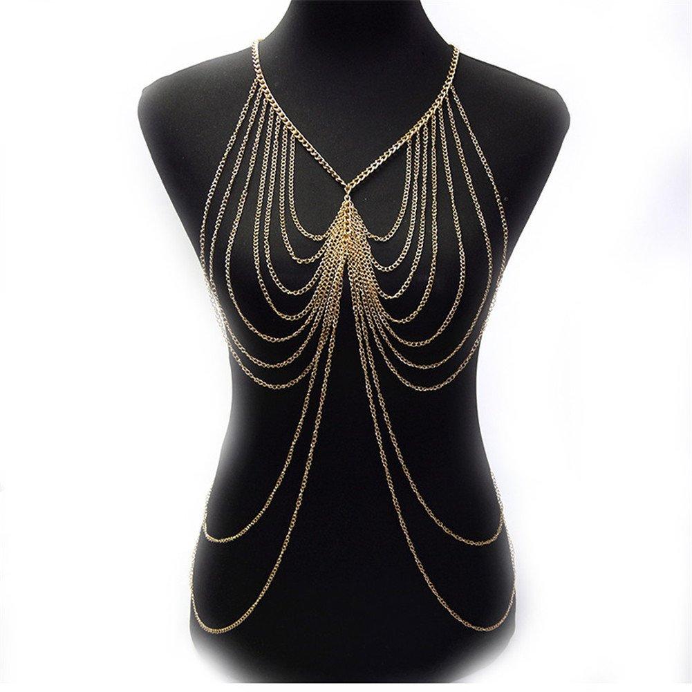 SIYWINA Multi-tassel Body Chains Women Novelty Gold Tassel Fine Chain Body Chain Bikini Summer