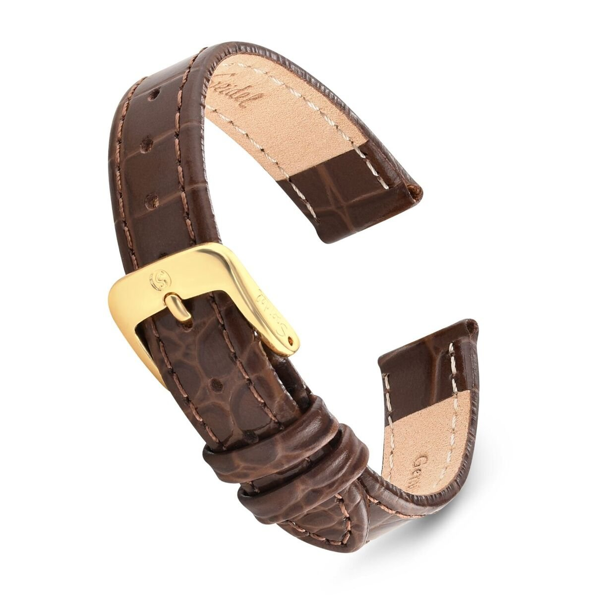 Speidel Genuine Leather Alligator Grain Watch Band 11mm Long Brown Replacement Strap, Stainless Steel Metal Buckle Clasp, Watchband Fits Most Watch Brands by Speidel (Image #1)