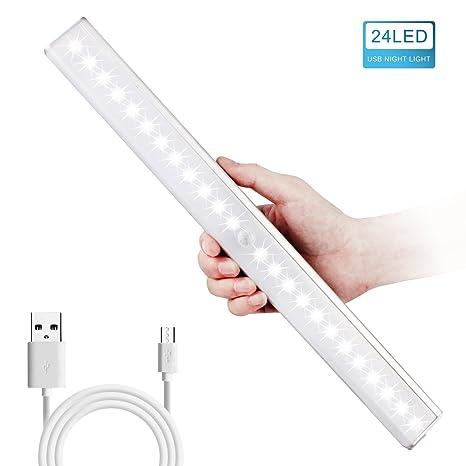 HogarTech Lámpara LED del Armario, 24 LEDs Recargable Inalámbrica con Sensor de Movimiento para Armario