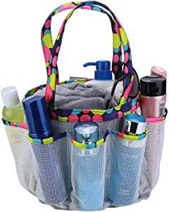 SAISN Mesh Portable Shower Caddy with 7+1 Pocket Bath Organizer Bag Quick Dry Shower Tote Bag Oxford Hanging Toiletry and Bath Accessories for Dorm Camping Gym Swimming (White)