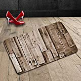 Custom Machine-washable Door Mat Wooden Vintage Barn Shed Floor Wall Planks Sepia Art Old Natural Plywood Lodge Image Print Decor Grey Brown Indoor/Outdoor Doormat