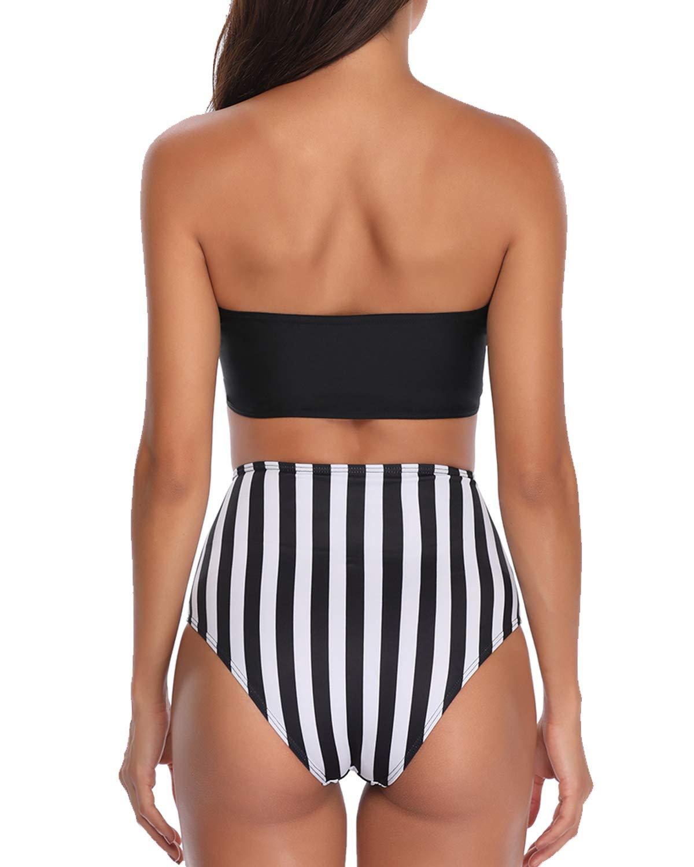 Temptme Apparel Women Bandueau Strapless High Waist Bikini Set Tie Knot Two Piece Swimsuit Swimwear Stripe Bathing Suit M