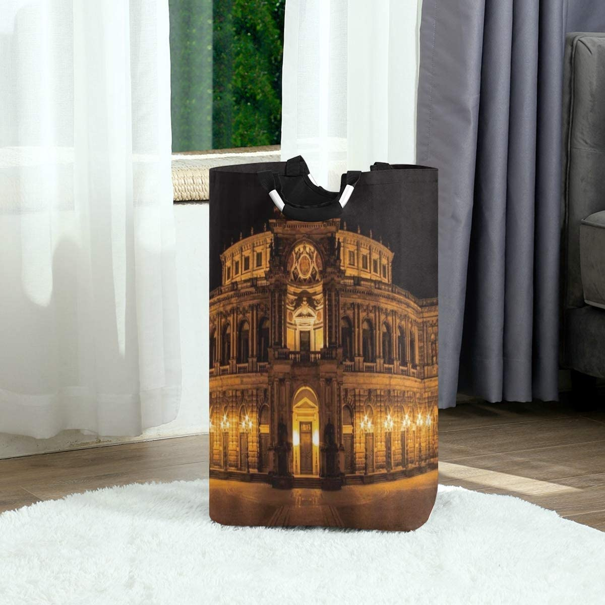 DAOPUDA Laundry Bag Opera House Baroque Architecture Germany Dresden Arcades Pilasters Terrace Dim Lights Large Laundry Hamper Bags for Heavy-Duty Use with Strap,Clothes Basket for Dorm Bathroom