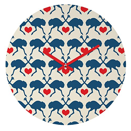 Deny Designs Holli Zollinger, Ostrich and Heart, Round Clock, Round, 12