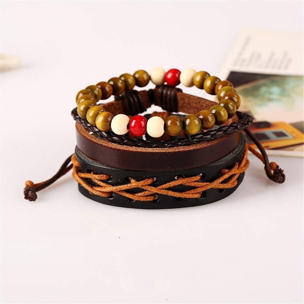 Jajxacc Men Women Leather Bracelet Rope Wristband Woven Leather Bracelet Bracelet Leather Bracelet Multi-Layer Set Bracelet Punk Rock Gothic