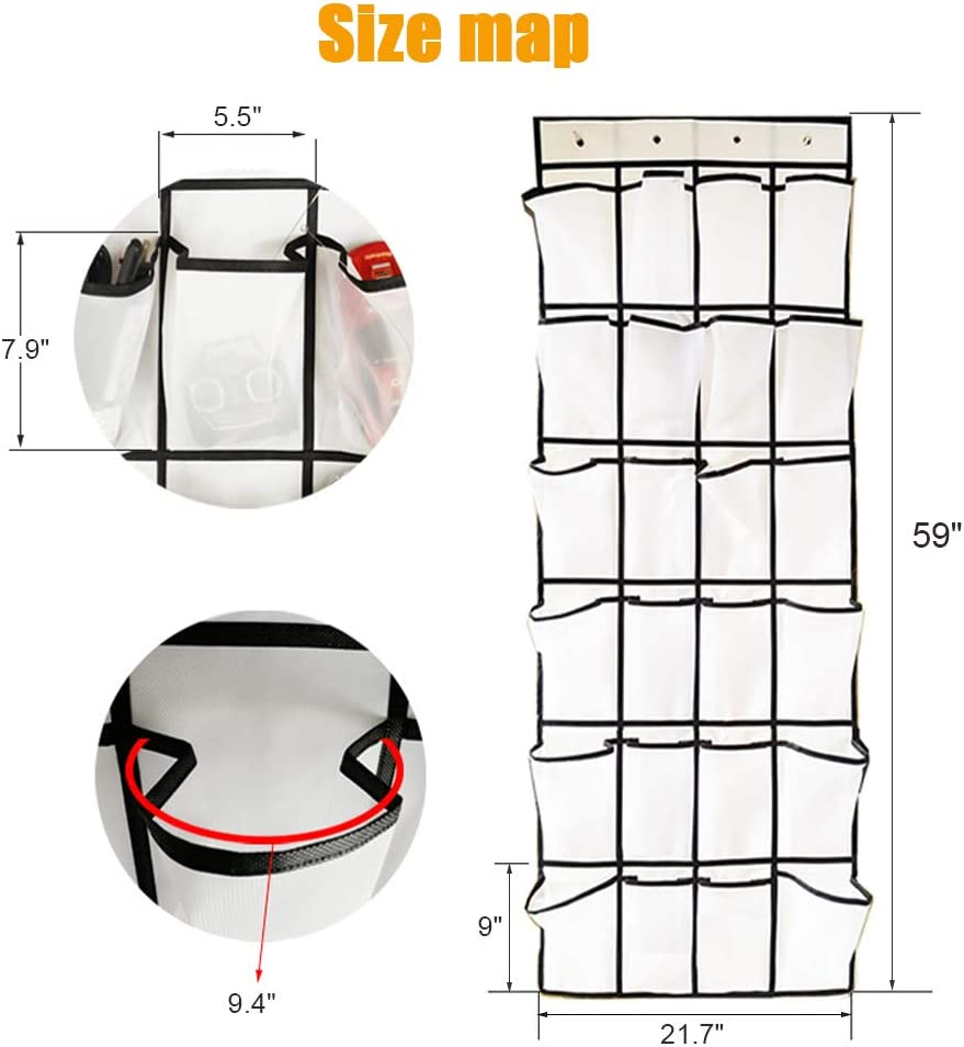 Great for Closet 24 Large Mesh Pockets Shoe Hanger Bedroom with 4 Strong Metal Hooks Over The Door Shoe Organizer
