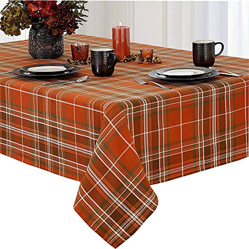 Newbridge Loden Autumn Plaid Thanksgiving Fabric Weave Tablecloth, 100% Woven Woven Cotton Fall Plaid Tablecloth, 60 Inch x 84 Inch Oval
