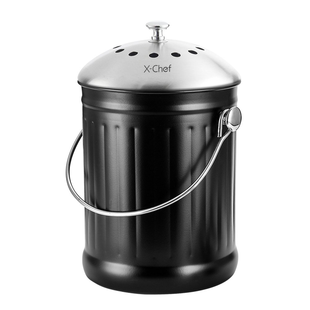 Trash Can, X-Chef Stainless Steel Cast Iron Kitchen