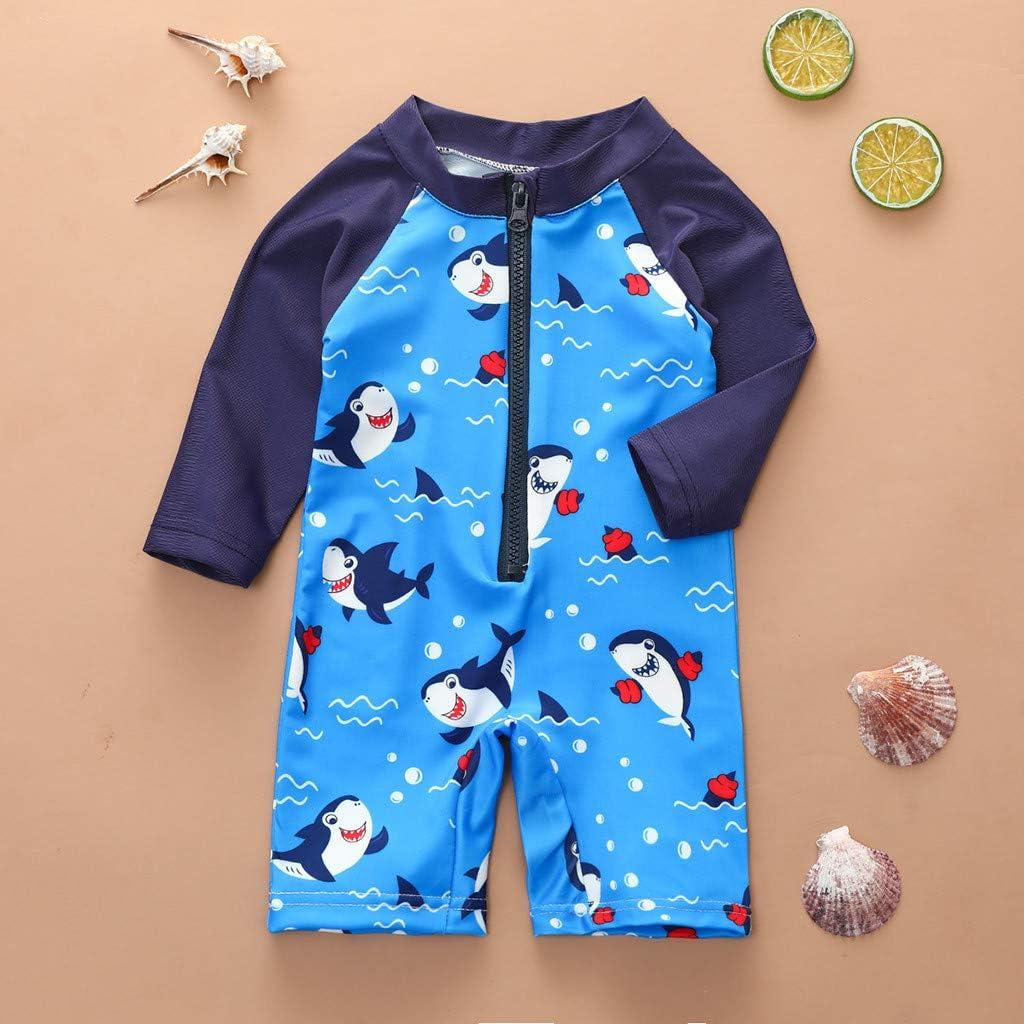 Toddler Baby Boys Swimsuits Cartoon One Piece Jumpsuit Summer Beach Zipper Short Sleeve Bathing Suit