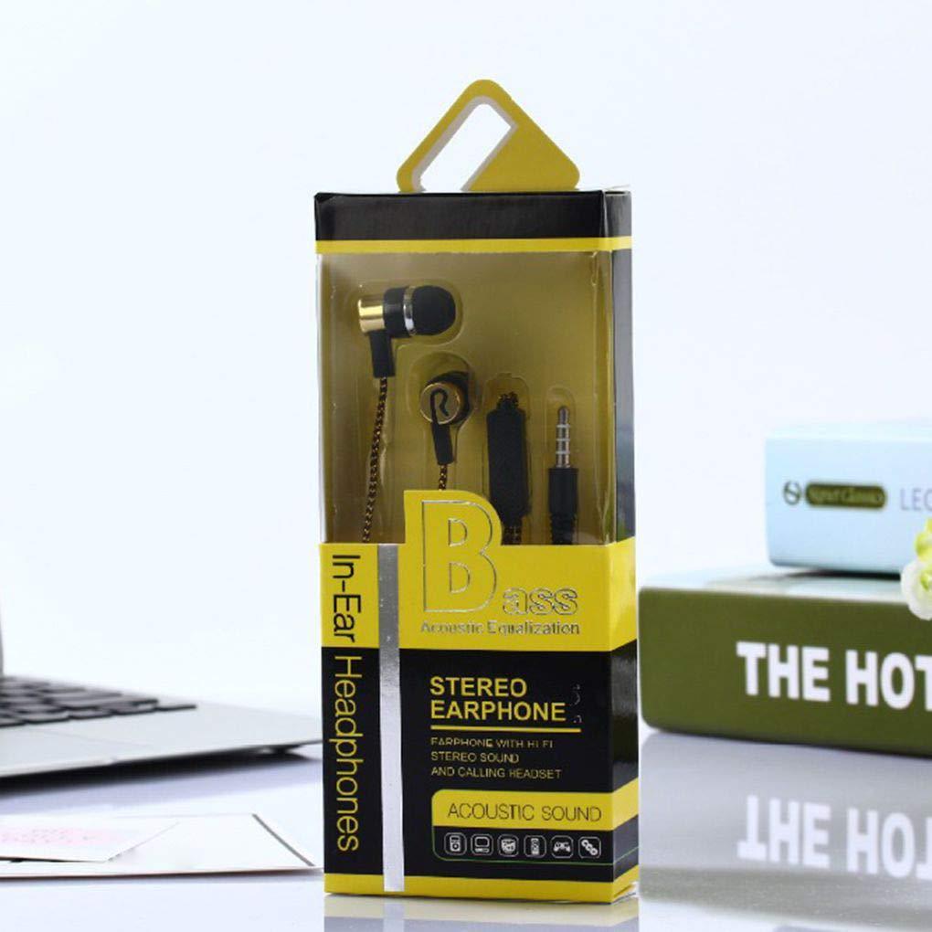 Masterein 3,5 mm Klinke In-Ear-Kopfh/örer Wiring Schwere Bassmikrofon Silikon-Woven Frostschutz Linie Earbuds