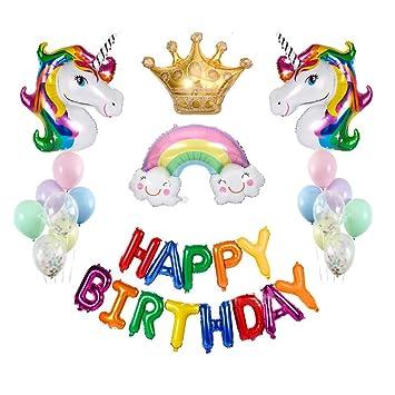 Sooair Globos de Unicornios para Cumpleaños,Decoraciones de Fiesta de Unicornio 2pcs Globos Unicornio para Partido Decorations Huge Latex Ballon ...