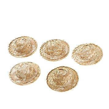 procédés de teinture minutieux magasin meilleurs vendeurs vente pas cher Homyl 5 pièces Chapeau Paille Mini Chapeau De Poupée Petit ...