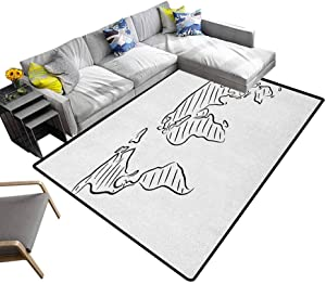 World Map Area Rug Illustration of Outline Sketch of The World Map in Drawing Effect Artwork Print Children Play Mat Black White (6'x8')