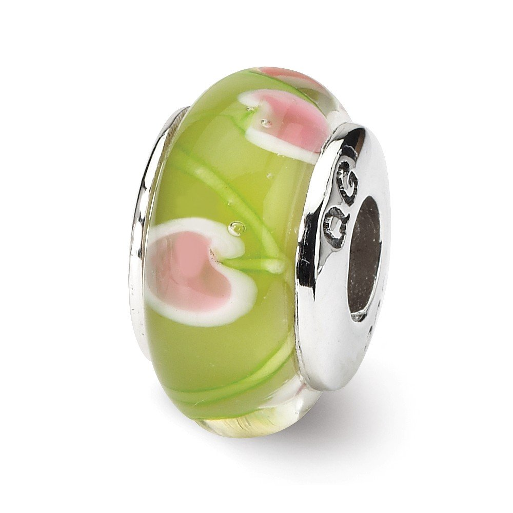 Sterling Silver Reflections Green and Pink Hand-blown Bead
