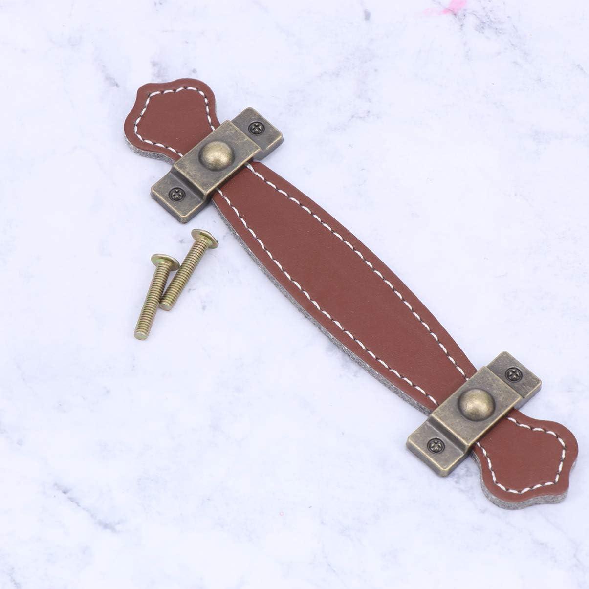 BESPORTBLE Vintage Leder Schublade Griff Schrank Schublade Ziehen Schrank Kn/öpfe Ziehen mit Schraube f/ür Den T/äglichen Gebrauch K/üche nach Hause