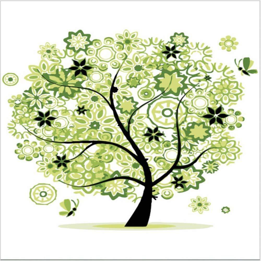 Wwdfdd Sin Marco Flor Verde árbol Diy Diy árbol Dibujo A Mano Lienzo