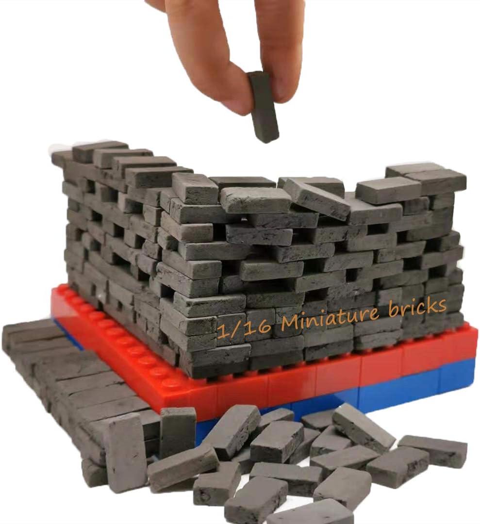 MOMAA 1/16 Miniature Brick-Scale Wall Bricks Mini Bricks Model Sand Table Micro Landscape Accessories DIY Dollhouse Bricks Diorama Fairy Garden (red+Grey) (Gray)