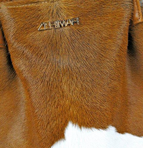 Zerimar Borsa a tracolla in pelle per donna Borsa a tarcolla con grande capacità Pelle morbida marrone-bianco