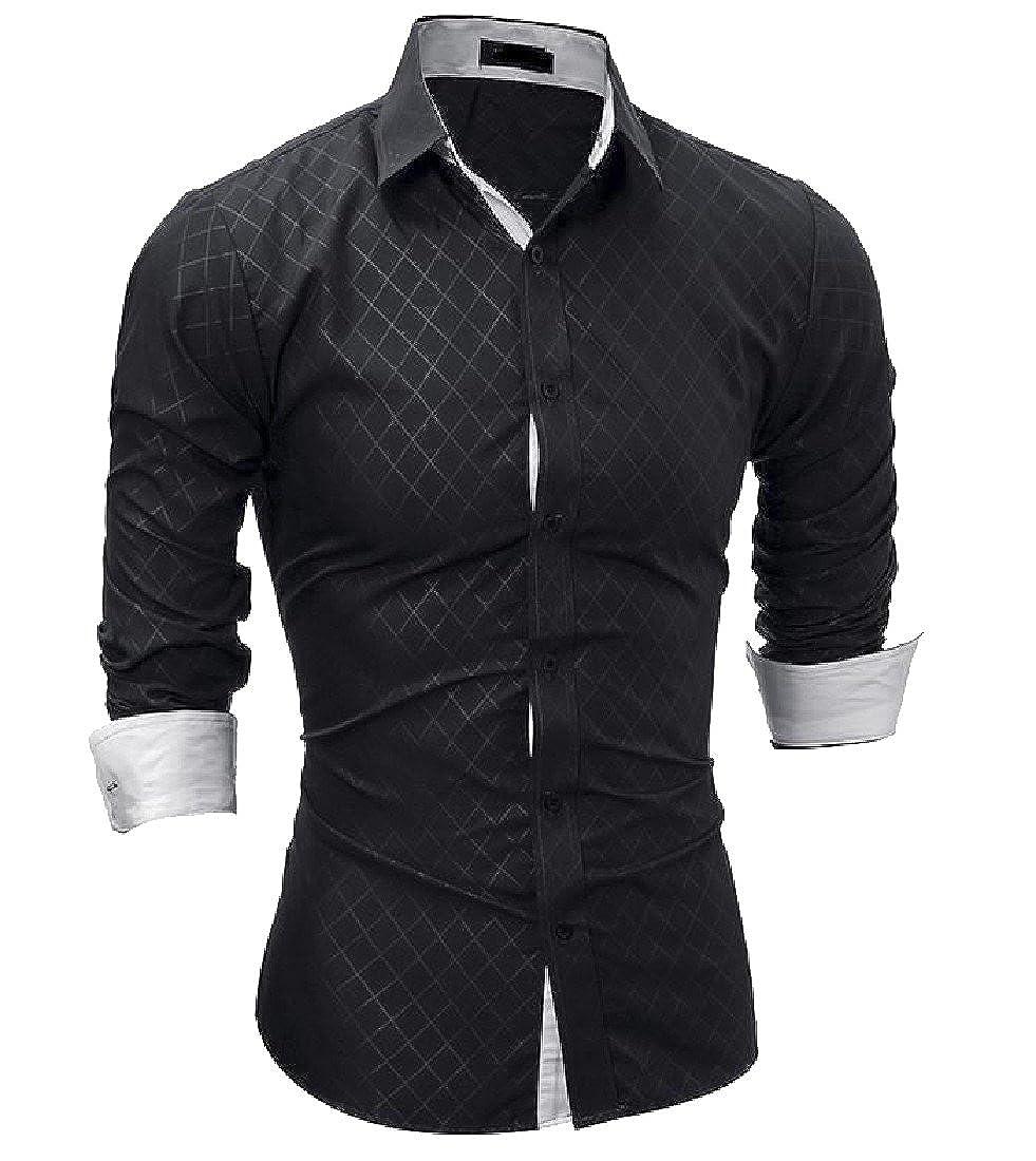 Godeyes Mens Lapel Casual Comfort Slim Solid Dress Shirt Plaid Shirt