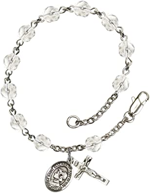 Bonyak Jewelry 18 Inch Rhodium Plated Necklace w// 6mm Rose Pink October Birth Month Stone Beads and Saint Elizabeth Ann Seton Charm