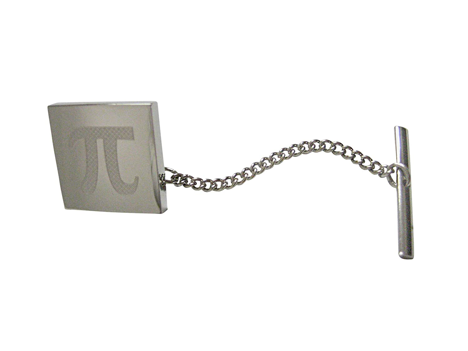 Silver Toned Etched Mathematical Pi Symbol Pendant Tie Tack
