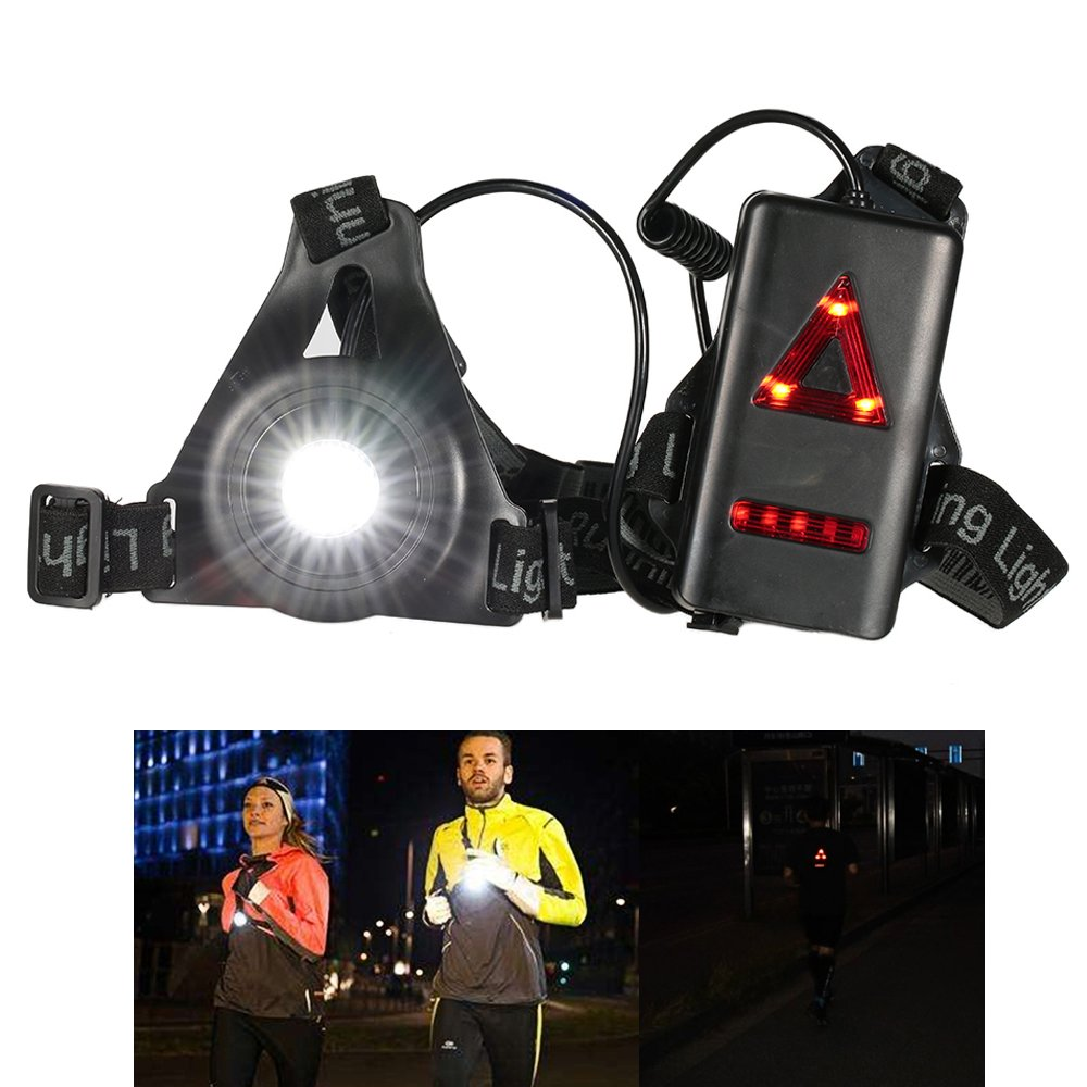 Running Chest Lights For Runners ADOGO USB Rechargeable LED Chest Light Safety Night Jogging Warning Light Headlamp For Jogging ,Walking,Camping,Hiking and Outdoor Sport