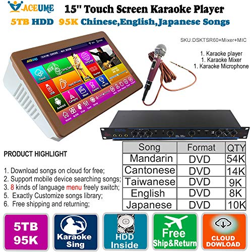 5TB HDD,95K Chinese+English+Japanese Songs,15.6'' Desktop Touch Screen Karaoke Player,Wireless Microphone Input, ECHO Mixing,Multilingual Menu and Fast Search,Remote Controller and Free Microphone