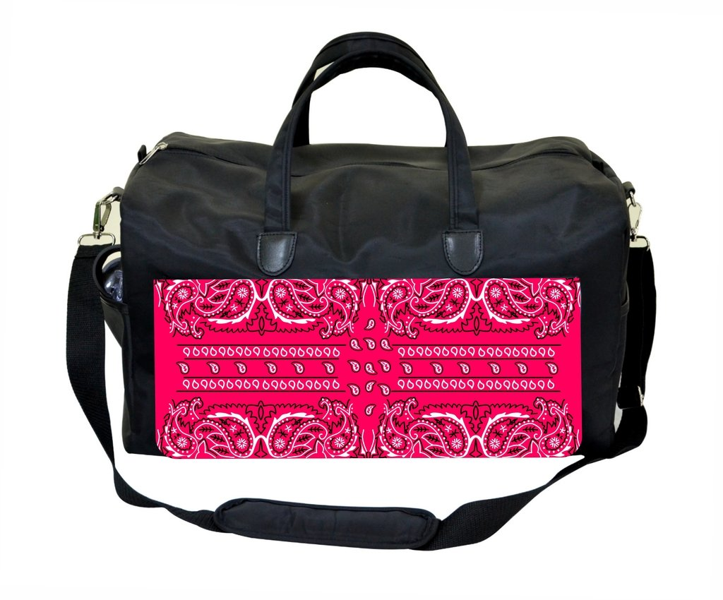 Pink Bandana Paisley Print Design Weekender//Overnighter Bag