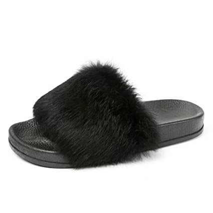 3ba40094515 Image Unavailable. Image not available for. Color  Hot Sale!! ZOMUSA Womens  Non-slip Soft Fluffy Faux Fur Flat Slipper Flip