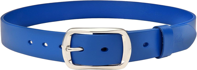 Navy White Full Grain Leather Slide Belt U.S