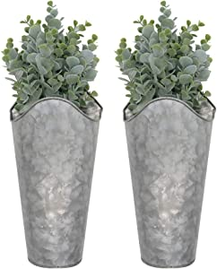 Luhiew 2 Pack Galvanized Metal Wall Planter with Artificial Eucalyptus,Farmhouse Style Hanging Wall Flower Holder Home Decor for Living Room Kitchen Bedroom Apartment Office