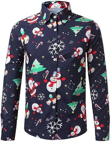 Camisas de Hombres de Manga Larga con Botones Camiseta para Hombre Navidad Suave y Cómodo Outwear Ropa Blusa Sudaderas Tops Fannyfuny: Amazon.es: Ropa y accesorios