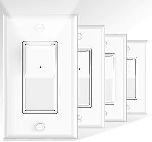 4 Pack Illuminated Light Switch, Decora Paddle Rocker Light Switch with LED Night Light, Automatic On/Off Sensor, Single Pole, 15Amp 120/277Volt, White
