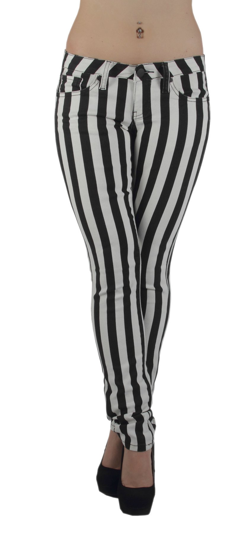 Fashion2Love Women's Plus Size Black & White Striped 5 Pockets Classic Skinny Jeans (13/14)