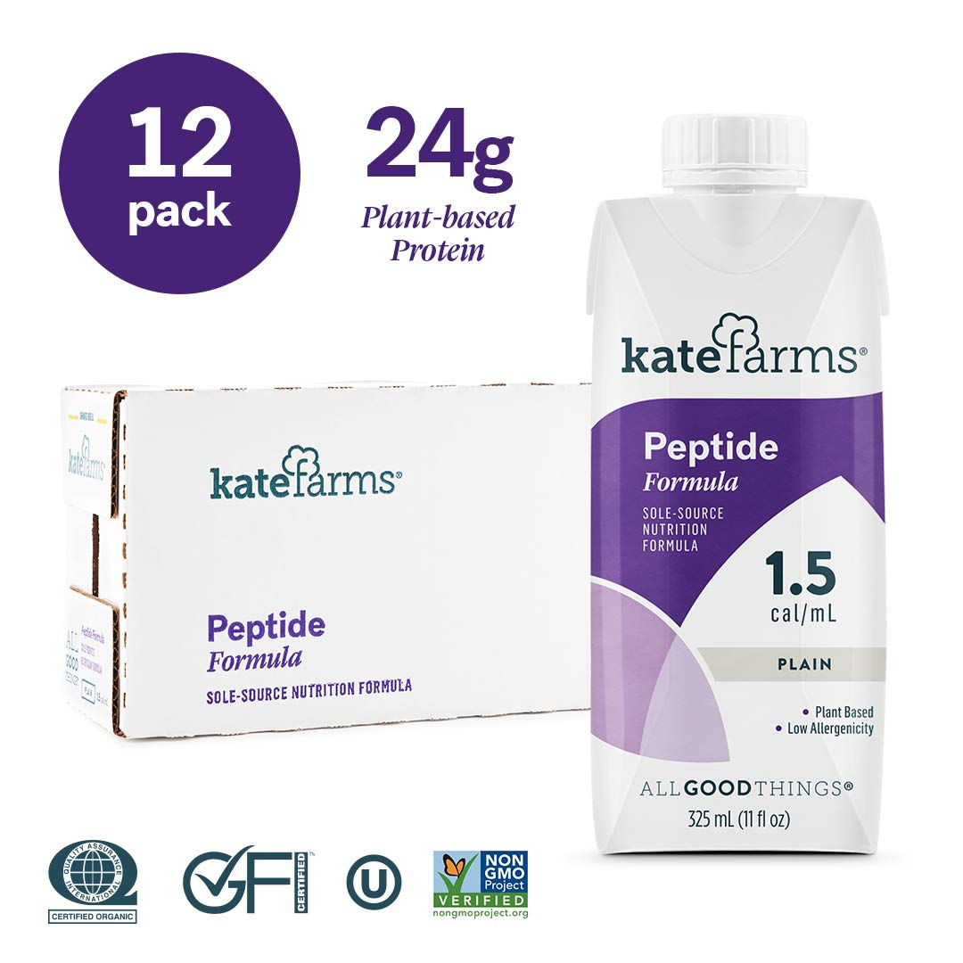 Kate Farms Peptide 1.5 Formula Drink, Enzymatically Hydrolyzed Plant-Based Organic Protein, Essential Vitamins, Calorically Dense, Total Nutrition for Oral and Tube Fed, 11 Fluid Ounces (Case of 12)