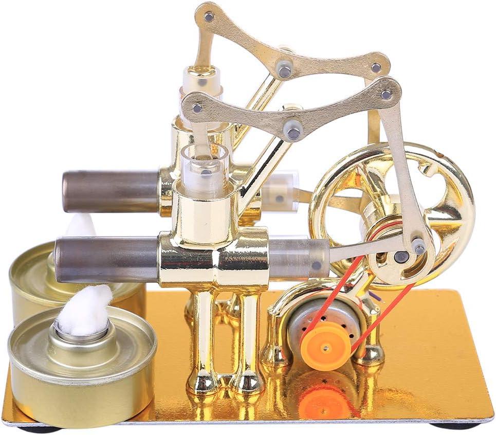 Dampfmaschine P/ädagogisches Spielzeug Geschenk f/ür Kinder Erwachsene Technikinteressierte Bastler 2 Zylinder Sterling Motoren Stirling Engine aus Metall TETAKE Stirlingmotor