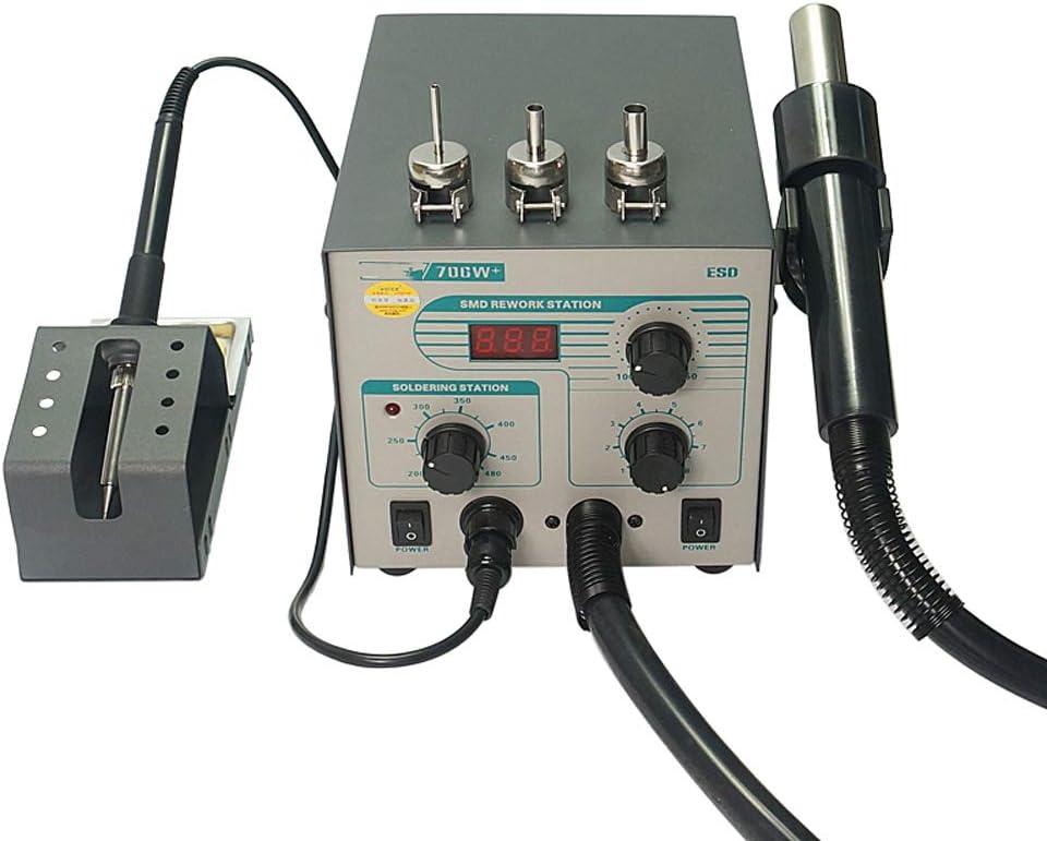 QWERTOUY Pantalla Digital 706W + Pistola de Aire Caliente eléctrico de Soldadura de Hierro Anti Temperatura estática Plomo 2 en 1 estación de la reanudación