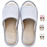 2eba8a15e833 MAGILONA Women Mens Unisex Washable Cotton Open-Toe Home Slippers Indoor  Shoes Casual Flax Soft
